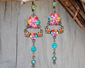 Set of Antiqued Bronze / Multicolored Swavorski Crystals / Floral Earrings and Bracelet