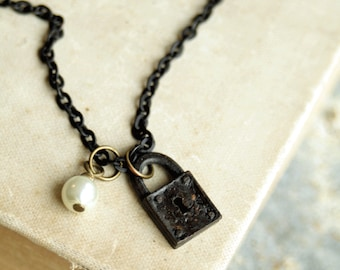 Old Lock Necklace, Cast Meal, Aged Patina Lock Necklace, Lock charm Necklace