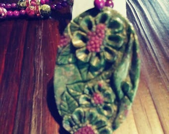 Carved Ruby in Fuchsite Set