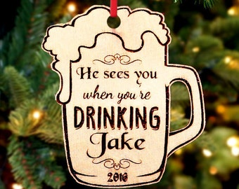 Personalized Christmas Ornament ~ Beer- Christmas Gift, First Christmas, Housewarming, New Baby, Anniversary, Wedding Gift
