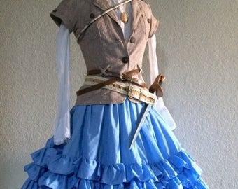 Small Vintage Steampunk Pirate Halloween Costume Including Jewelry + Belts