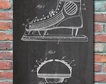 Hockey Skate Wall Art Print, Hockey Patent Art, Hockey Patent Poster, Hockey Blueprint, Hockey Patent Print, Plexity Prints #080