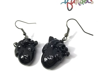 Anatomical Heart Earrings, resin, anatomical heart, earrings, halloween, gothic, witchcraft, heart, black, blood, medical, vampire