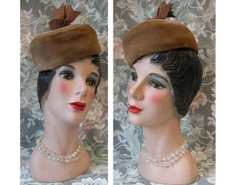 50's Hat - Taupe Pillbox Velour Cupcake Hat - Grosgrain Ribbon Decoration on Top - Kreeger's Label - Shabby Chic Fascinator - Pin Up