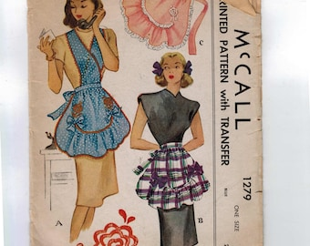 1940s Vintage Sewing Pattern McCall McCalls 1279 Misses and Womens Apron Half Full Hostess One Size 1940s 40s 1946