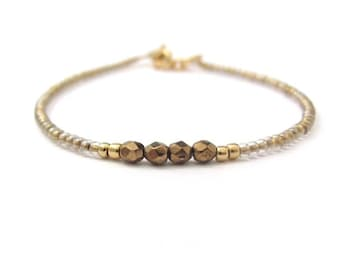 Delicate Seed Bead Bracelet, Bronze Bracelet, Dainty Beaded Bracelet, Friendship Bracelet, Bridesmaid Bracelet, Minimal Jewelry, Miss Cece