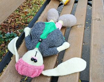 Recycled toy Crochet rabbit Upcycled yarn soft toy Waldorf hand knit rabbit, crochet doll rabbit with clothes Child friendly gift eco gift