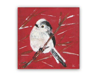 """Long Tailed Tit Mixed Media Painting on  8"""" x 8"""" Canvas"""