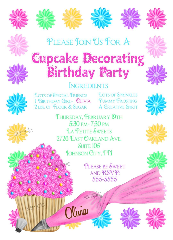 Cupcake Decorating Invitations Cupcake party Baking