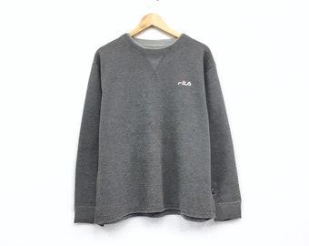 Rare!!Vintage Fila Sweatshirt Spellout small logo Pullover Jumper hiphop streetwear sportswear vintage men clothing