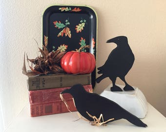 Handcrafted Wooden Crows / Primitive Crows / Fall Decor