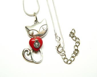 The cat with a big red heart, silver colored necklace, surprise steam punk jewellery, unique birthday gift for sister, mother, grandmother