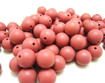 9mm - Lot of 10 Maroon Silicone Beads