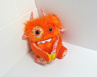Stuffed Monster - Monster Plush - Handmade Plush Monster - Hand Embroidered OOAK Monster Toy - Orange Faux Fur Monster Plush - Cute Weird