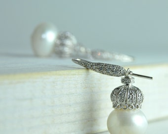 Fine Jewelry/Elegant White Pearl Earrings/ Bridal Earrings Made with Sterling Silver and Peals/Classic White Pearl Bridal Jewelry