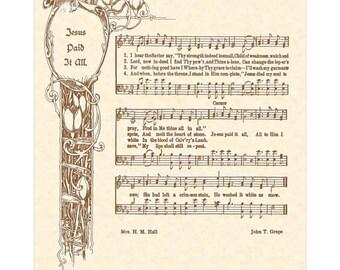 JESUS PAID IT All --- 8 x 10 Antique Hymn Art Print