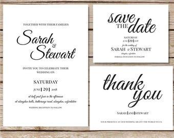017 Wedding invitation template Wedding invitation Classic Printable wedding set Wedding invitations set printable Printable invitations