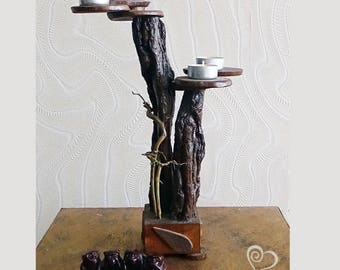 Candlestick decorative from a natural tree root