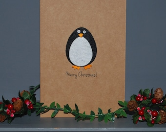 Penguin Multipack Christmas Cards - Set of 5 - Penguin Cards - Holiday Cards - Handmade Card Set - Personalised Card - Simple Christmas Card