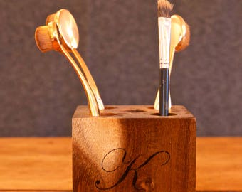 Personalised Makeup Brush Holder - made from upcycled wood