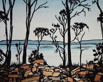 Original Hand Coloured Linocut Print, Tasmanian Landscape Scene, Coal Mines Historic Site, Tasman Peninsula Lino Print