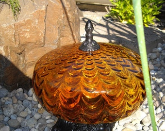 Vintage BEAUTIFUL French Cottage Chic Home or Garden Gold Glass Gazing Ball Metallic with Base and Finial