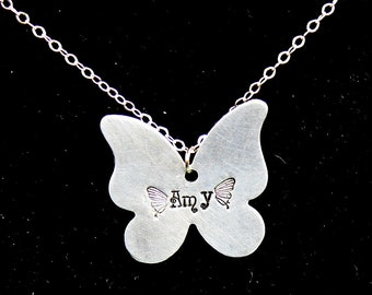 Butterfly Necklace - Hand Stamped Jewelry - Gift - Custom Name Pendant - Personalized