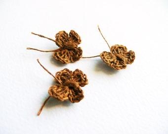 Crochet butterfly applique,set of 6,mini butterfly embellishments crochet motif,small wedding favor, scrapbooking, wedding decorations,cards
