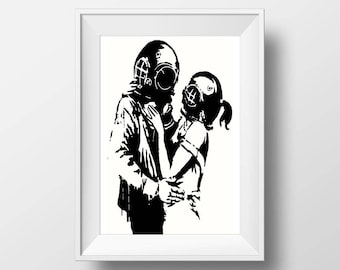 Banksy Poster Print | Lovers graffiti Prints