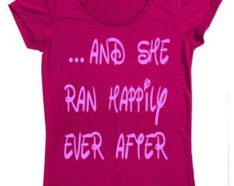 run disney t-shirt - princess runner - princess half marathon - running shirt - ... and she ran happily ever after