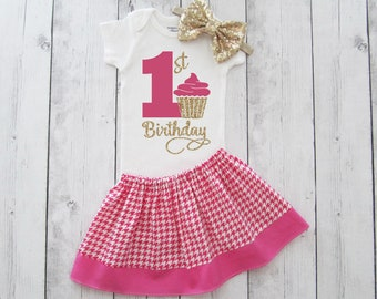 First Birthday Outfit in hot pink Houndstooth - 1st birthday outfit, girl birthday outfit, cupcake 1 birthday shirt, girl outfit hot pink
