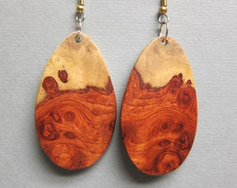 Rare Afzelia Burl African Exotic Wood Dangle Earrings ExoticWoodJewelryAnd handcrafted ecofriendly