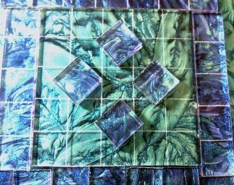 2 Color - BLUE and BLUEGREEN MIX Van Gogh Glass Mosaic Tile B11/23