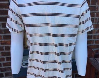 Patagonia Horizontal Striped Organic Cotton Large Like New Off White Heather/Brown Tee T-Shirt