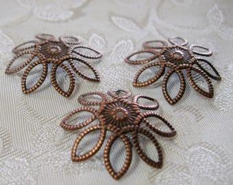 Antique Copper Filigree Bead Caps 21mm Nickel Free 314-AC