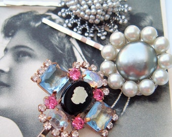 Bridal Prom Pageant ,Hair Bobbies Clips Pins accessories, Upcycled Vintage ,Something Blue ,Cameo Rhinestones ,Maid Of Honor Bridesmaid Gift