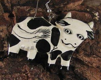 vintage funny handmade Cow earring, handpainted, wood,wooden earring,Farm,animal