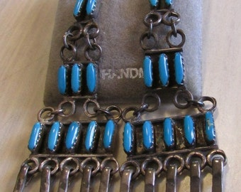 Sterling Silver and Turquoise Long Needlepoint Earrings