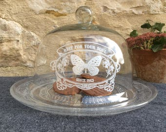 Vintage Inscribed Glass Display Cloche, Glass Dome and Plates, Serving Cloches, Vintage Shelf Display, Bell Jar Dome