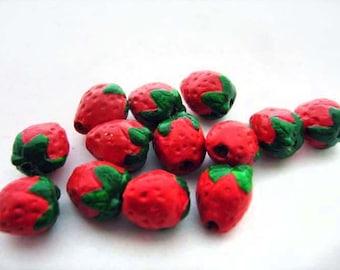 20 Ceramic Beads - Tiny Strawberry Beads - CB239