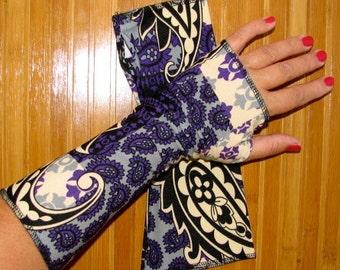Black Purple Victorian Paslies mid wrist Fingerless Gloves Arm WarmersSize S M L XL