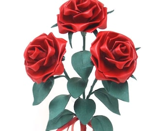 Third Anniversary Trinity Fire Red Leather Rose Bouquet Swarovski Crystals