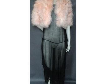 Vintage 1970s/70s Pink Marabou Feather JACKET Flapper Boudoir