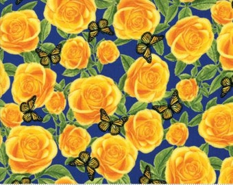 Texas Trail - Yellow Roses with Bluebonnet Blue Background - 1/2 Yard