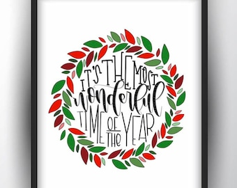 It's the Most Wonderful Time of the Year Printable/ Christmas Printable/ Christmas Print/ Christmas Download/ Merry Christmas/ Holiday Art