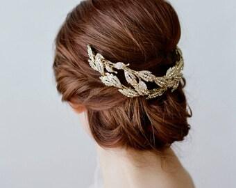 Bridal Leaf Crown -  ALESIA Gold Swarovski Crystal Leaf Tiara Rose Gold Leaves Bridal Headpiece, Gold Leaves Headpiece, Gold Lady Mary Tiara