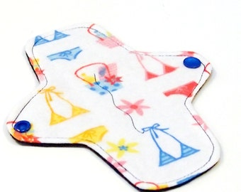 7 inch Reusable Cloth winged ULTRATHIN Pantyliner - Cotton flannel top - Bikini