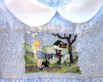 Girls  Smocked Dress Size 4/ Hand Smocked Hand Embroidered/ Picture Pretty in Blue