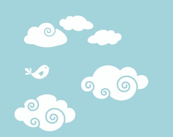 Whimsy Clouds Wall Decal Add-On Package   Two Package Options