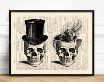 Couple Poster Skulls, Husband Wife Gift, Skull Wall Hanging, Real Skull Poster, 9th Anniversary Gift, Valentine Gift Print, Victorian 129